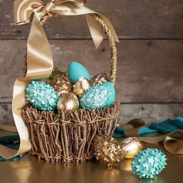 Dry Sticks Assembled In Shape Of Basket With Twinkle Blue & Golden Easter Eggs