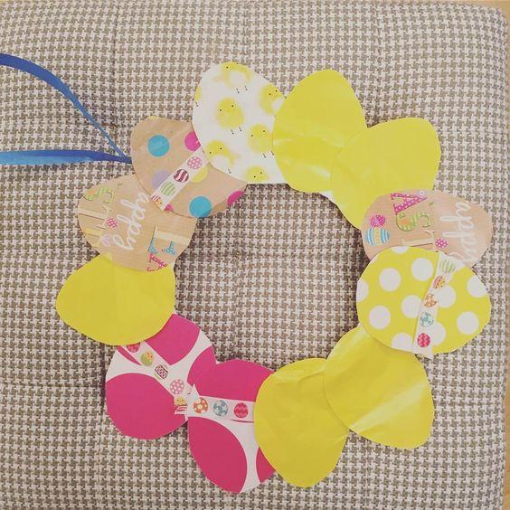 Easy Paper Egg Wreath For Easter