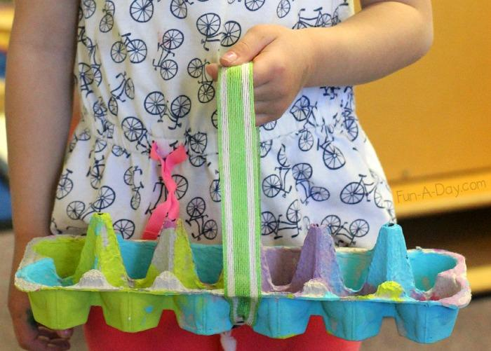 Egg Tray Turned Into A Basket For Easter Surprises
