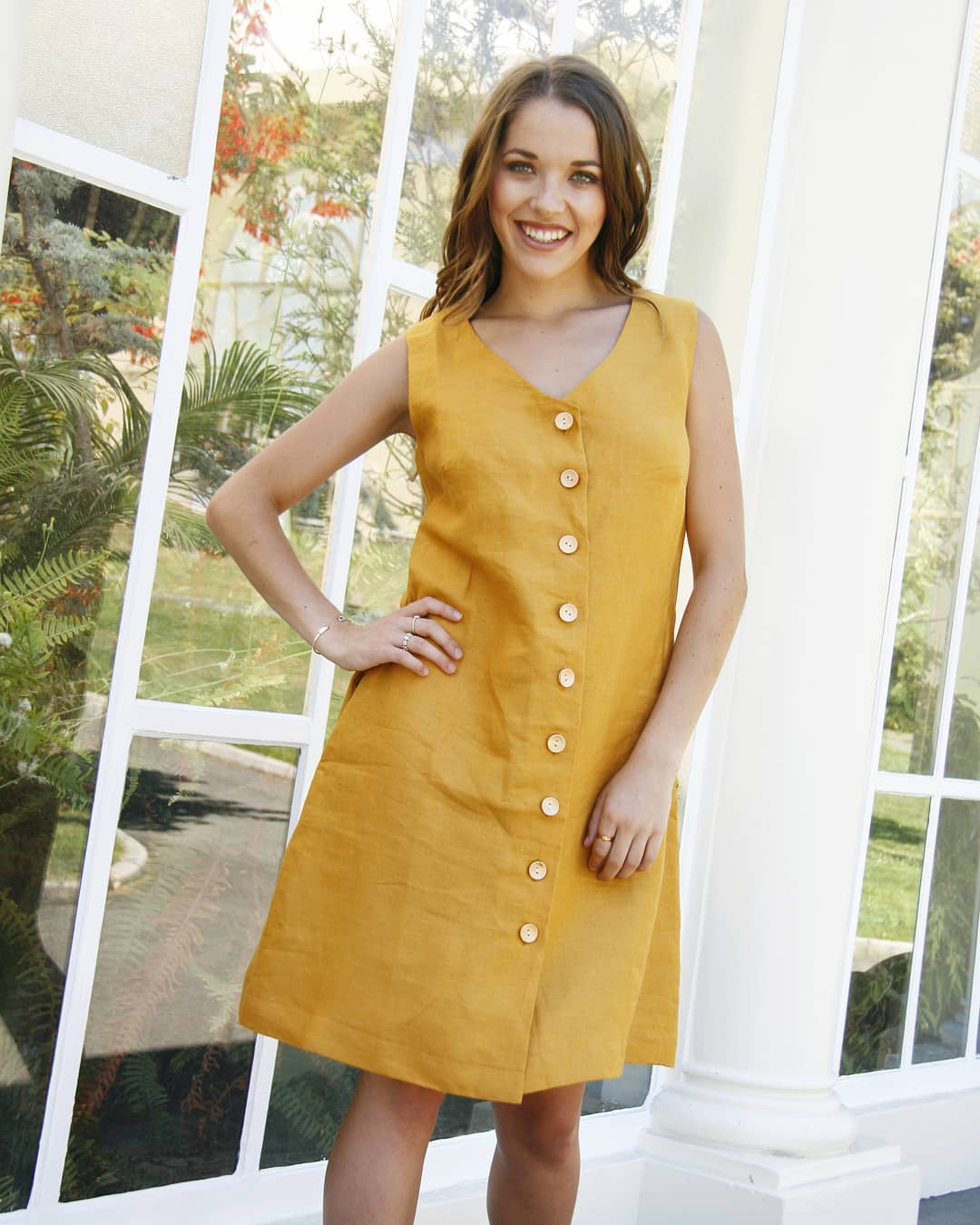Elegant Mustard V-Neck Midi With Buttons