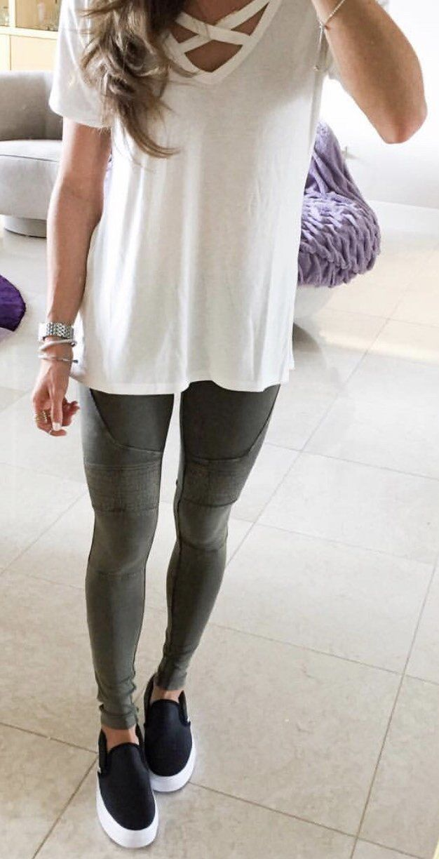 Exclusive Criss-Cross Neckline White Tee With Tights And Sneakers Perfect For Spring