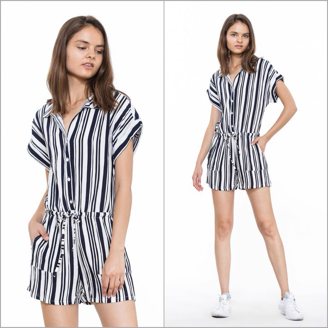 Fantastic Black & White Stripes Romper With Sneakers