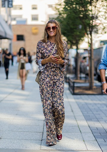 Floral Print Full-Length Jumpsuit With Sunglasses Perfect For Spring