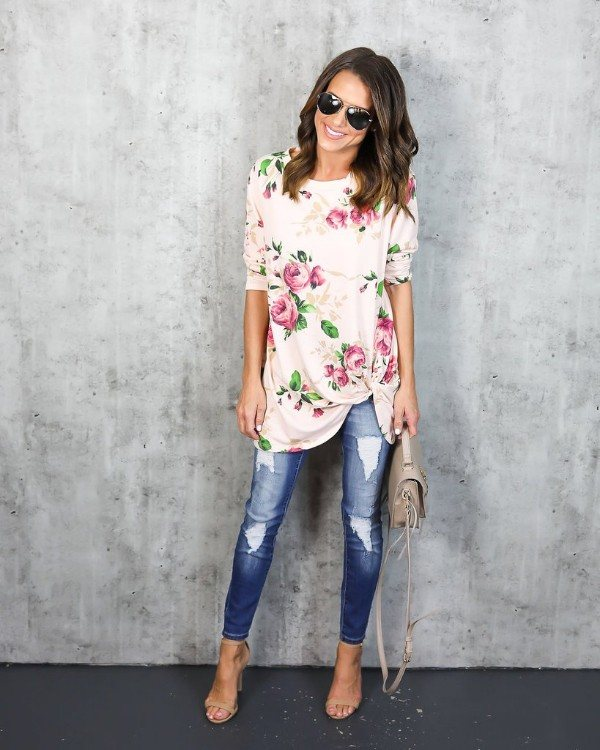 Floral Top Paired With Ripped Jeans, High Heels And Handbag