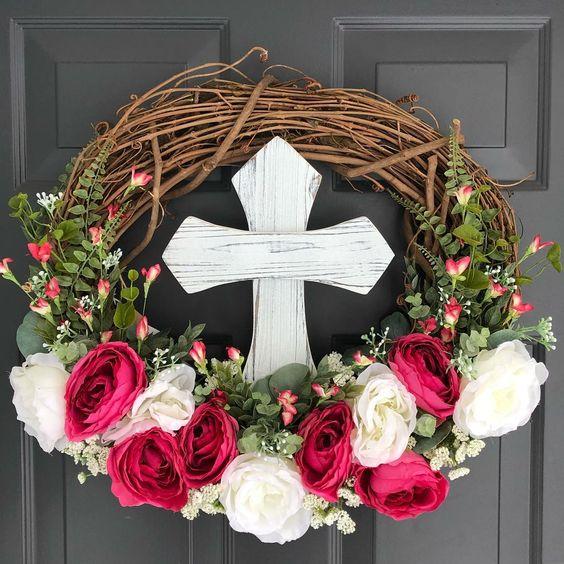 Fresh Flowers Cross Easter Wreath For Door Decor
