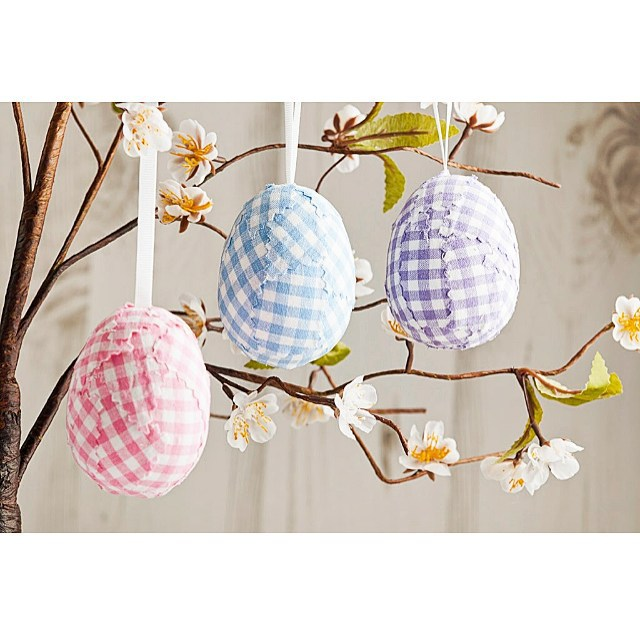 Gingham Print Fabric Covered Eggs