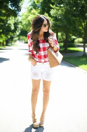 Gingham Shirt With Distressed Ultimate Spring Fashion Idea