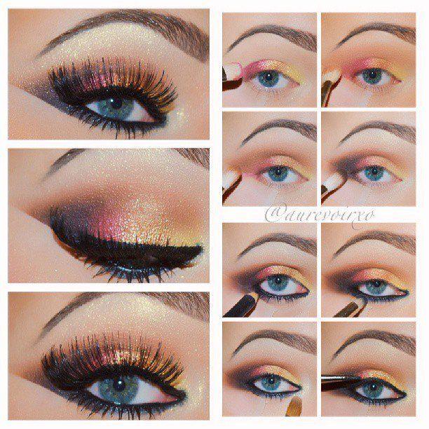 Glam Shimmer Rainbow Eye Makeup Tutorial