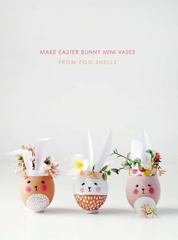 Glamorous Easter Bunny Mini Vases From Egg Shell