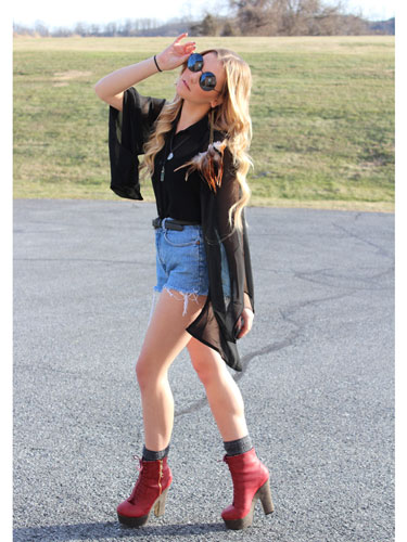 Glamorous Tee With Shorts And Heeled Boots