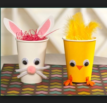 Googly Eyes Easter Chick And Bunny Paper Cup Decor