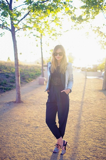 Gorgeous Cadet Blue Jumpsuit Styled With Denim Jacket And Block Heels