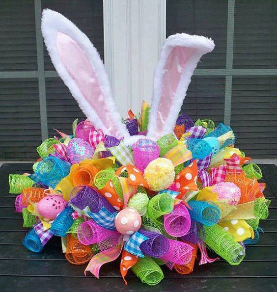 Gorgeous Easter Bunny Centrepiece Of Mesh, Ribbon, & Plastic Eggs