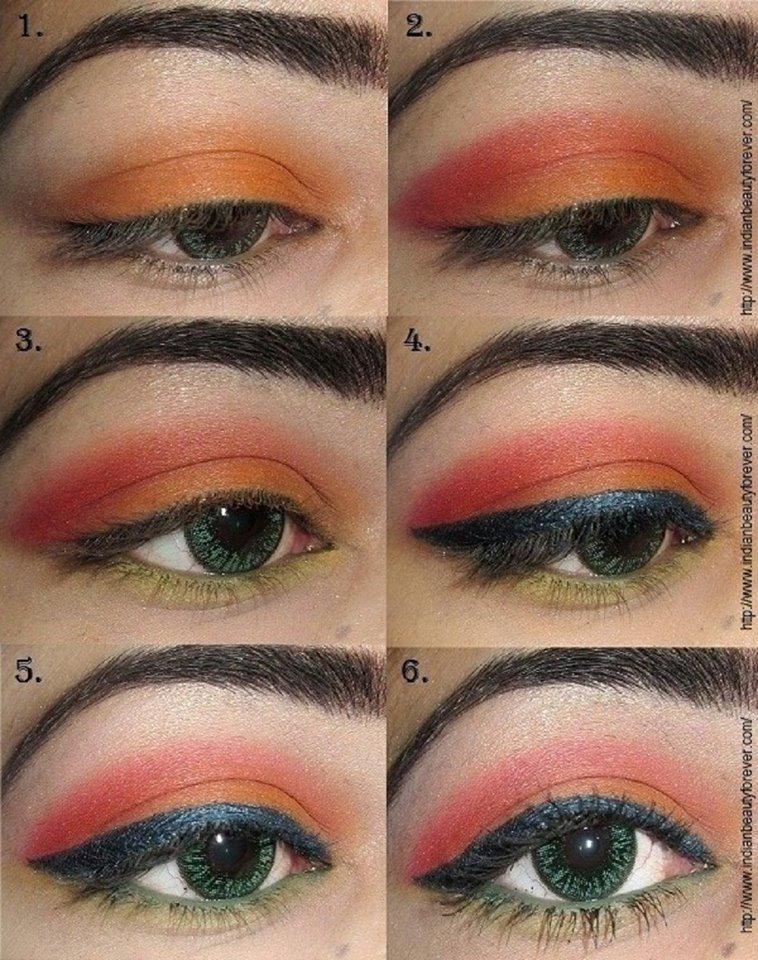 Gorgeous Orange Summer Eye Makeyp Step By Step