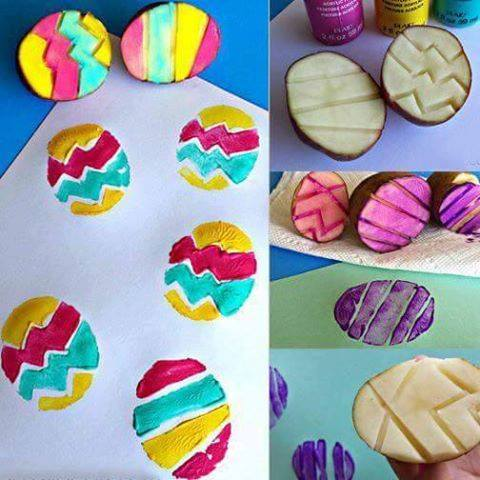 Great Idea To Use Potato As Easter Egg Stamping