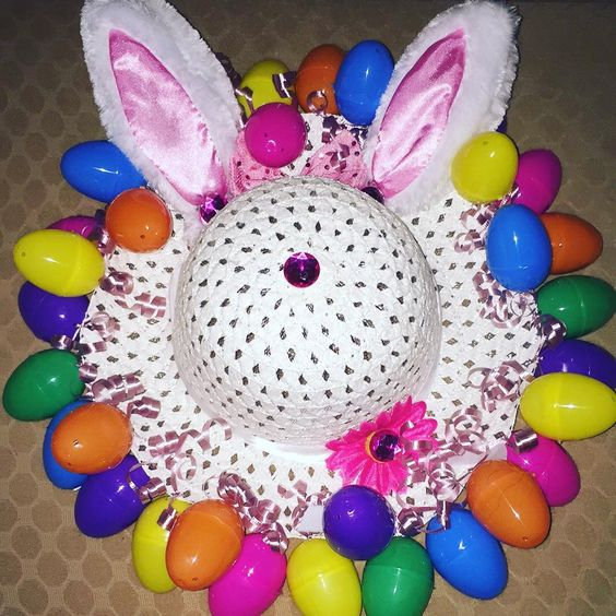 Hat Is Decorated With Artificial Colorful Eggs As Easter Wreath