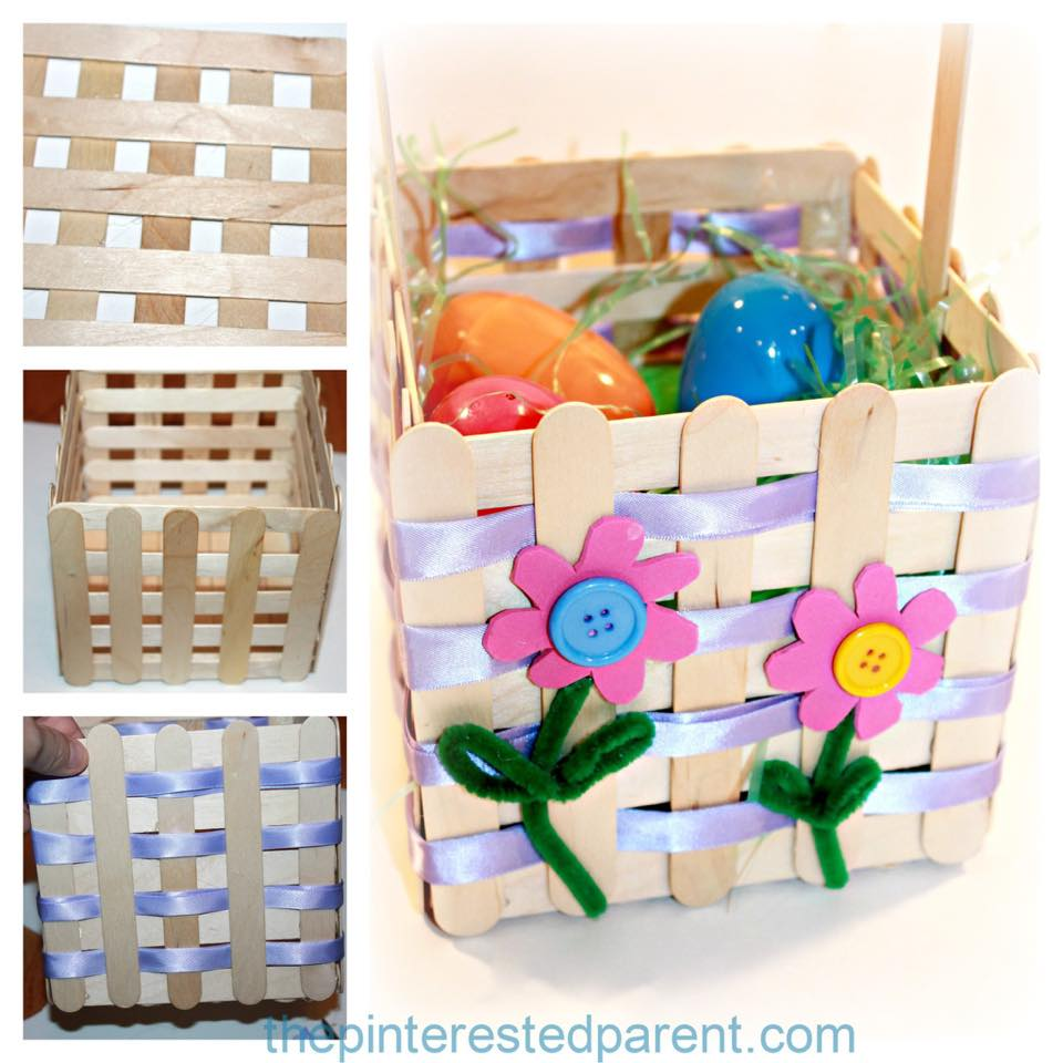 Impressive Popsicle Stick Easter Basket