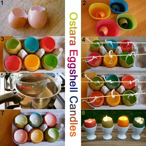Inexpensive Colorful Egg Shell Candles