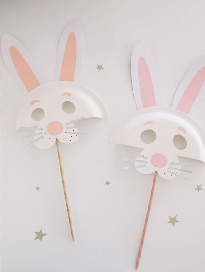 Inexpensive Paper Plate Easter Bunny Animal Mask