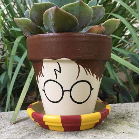 Kids Room Balcony Is Decorated With Cute Succulents In Harry Potter In Gryffindor Scarf Painted Pot