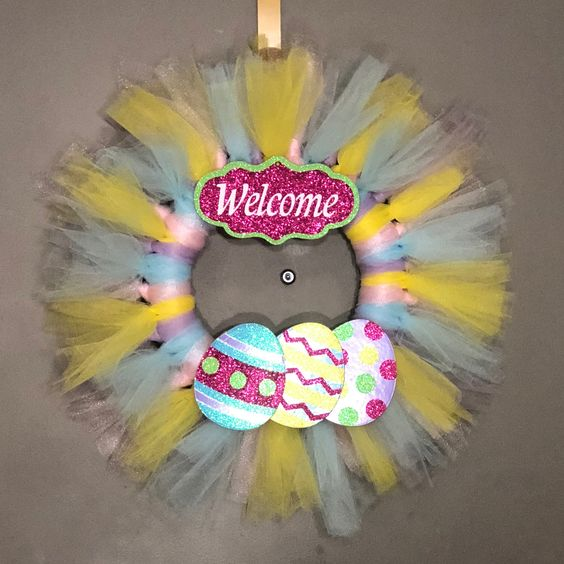 Lacy Pastel Color Wreath With Eggs