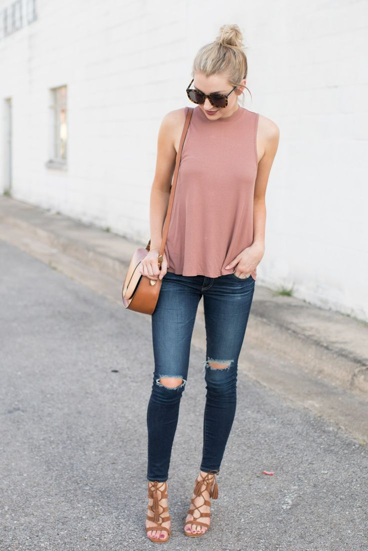 Loose Top Styled With Jeans, Gladiator Shoes And Sunglasses