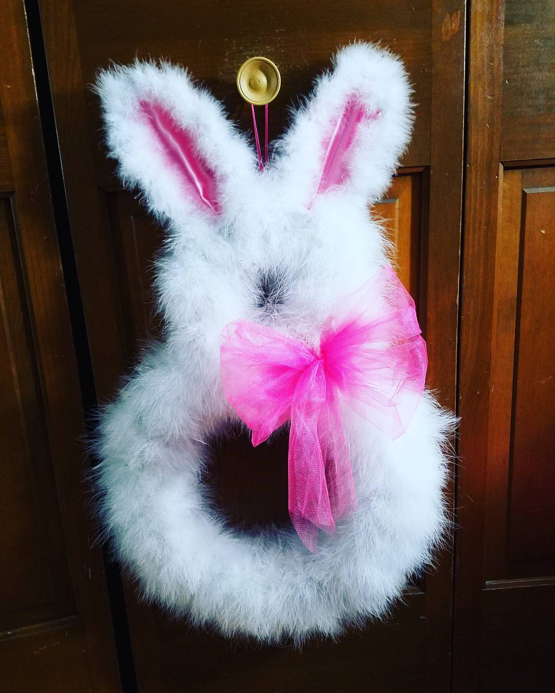 Lovely Soft Bunny Wreath Made At Home For Easter