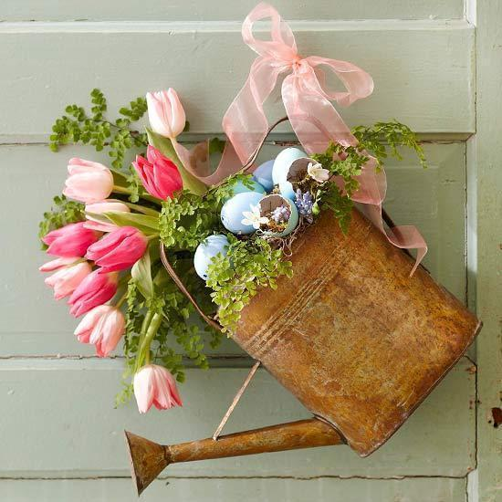Old Watering Can Reuse as Flower Vase Door Decoration For Easter