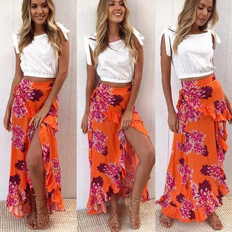 Orange Maxi Floral Skirt With Designer Cotton Crop Top