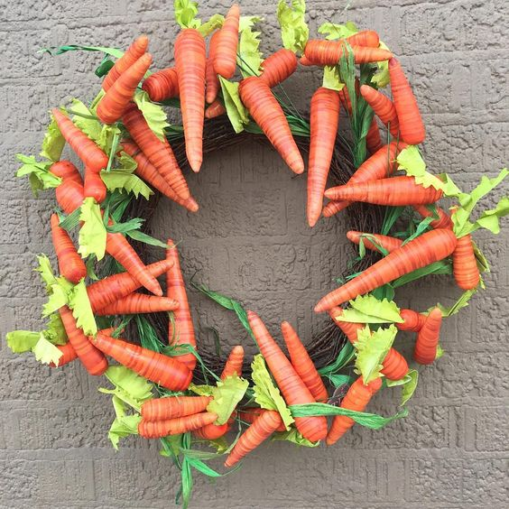 Paper Carrot Easter Wreath Ideas