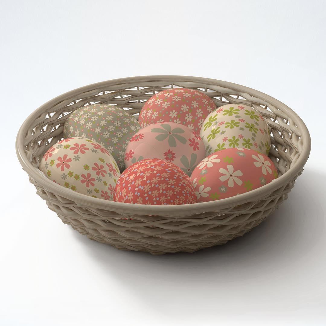 Pastel Color Floral Print Egg Decor