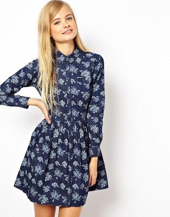 Perfect Spring Chambray Floral Shirt Dress