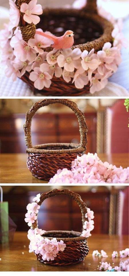 Pink Cherry Blossom Flower Decorated Basket For Easter