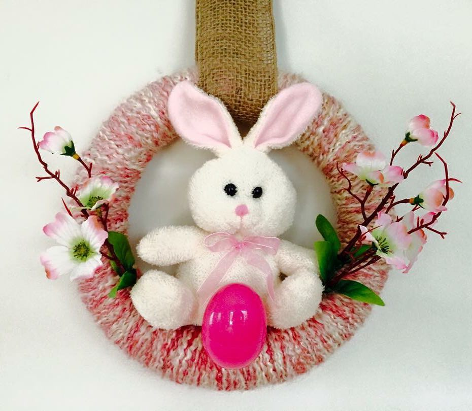 Pink Wreath With Stuffed Bunny For Easter