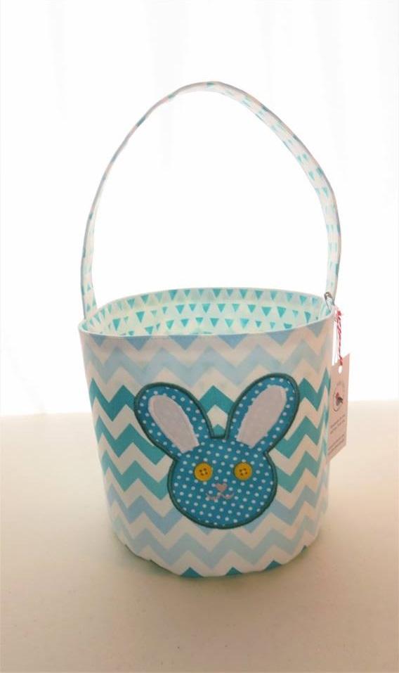 Playful Blue Bunny Face Easter Basket