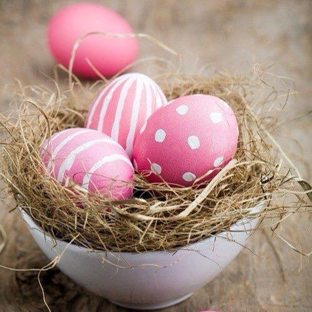 Polka Dots And Stripes On Pink Eggs