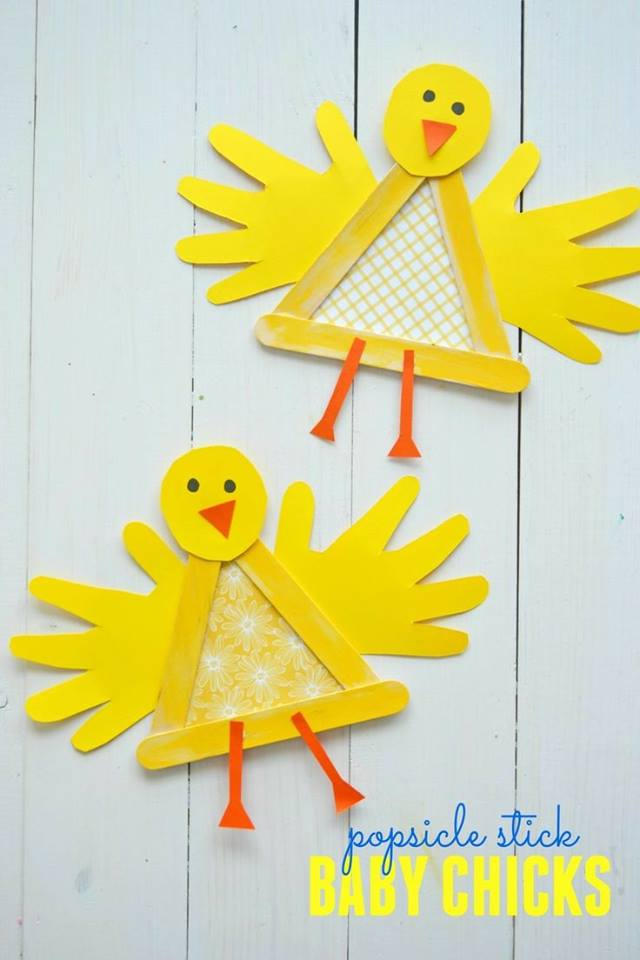 Popsicle Sticks Used To Make Baby Chicks Made For Easter