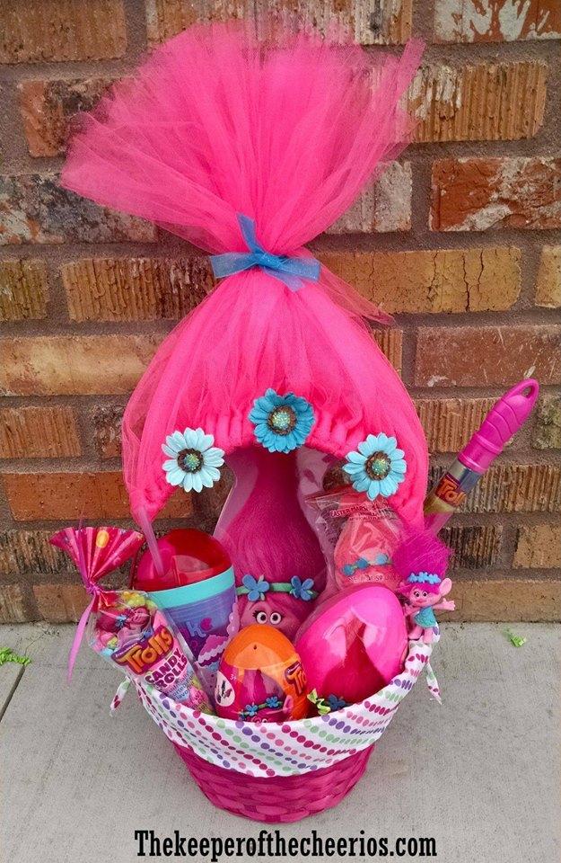 Pretty Bright Pink Trolls Theme Easter Basket Design