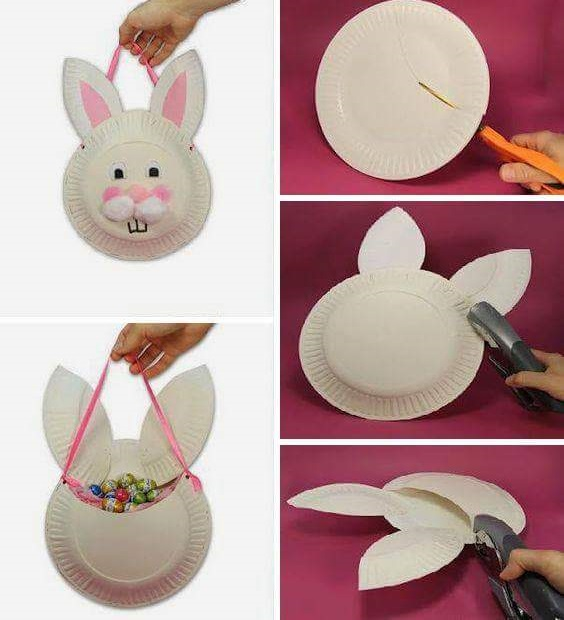 Pretty Hanging Paper Plate Bunny For A Perfect Easter Accessory