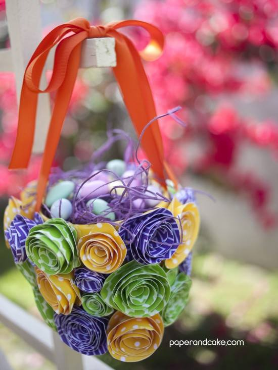 Printed Polka Dots Fabric Flowers Decorated Basket For Easter