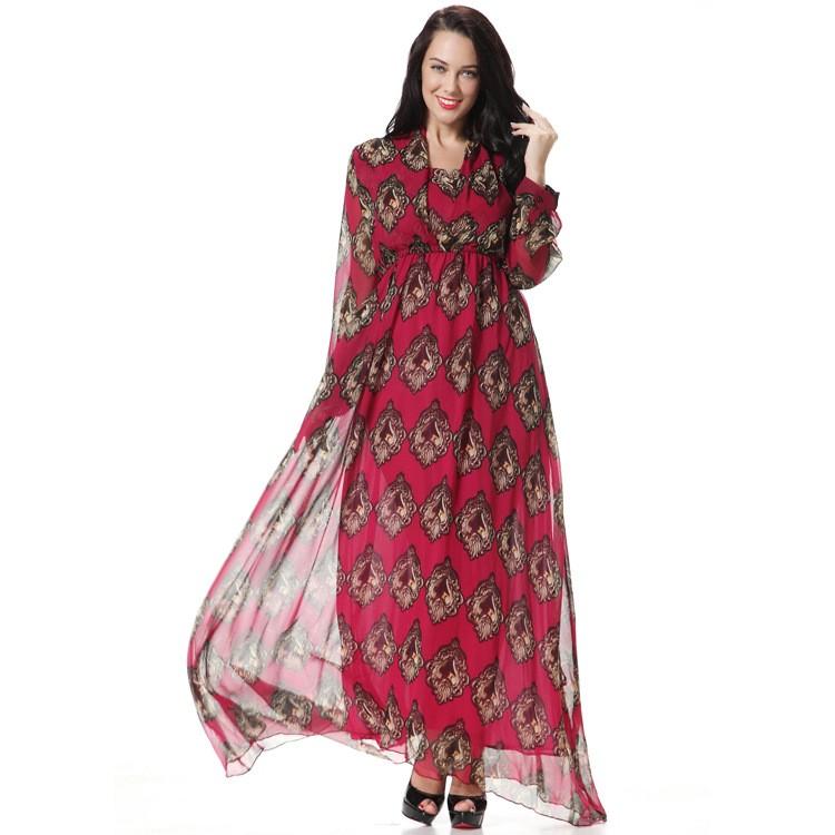 Red Printed Full Sleeves Chiffon Maxi Dress