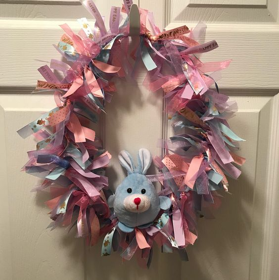 Ribbon Wreath With Bunny Rock The Look