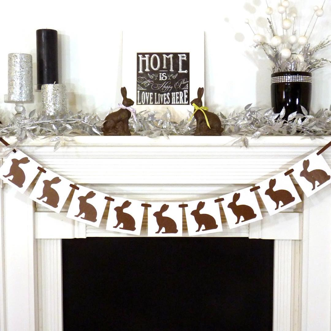 Rocking Bunny Garland To Decorate Mantel For Easter