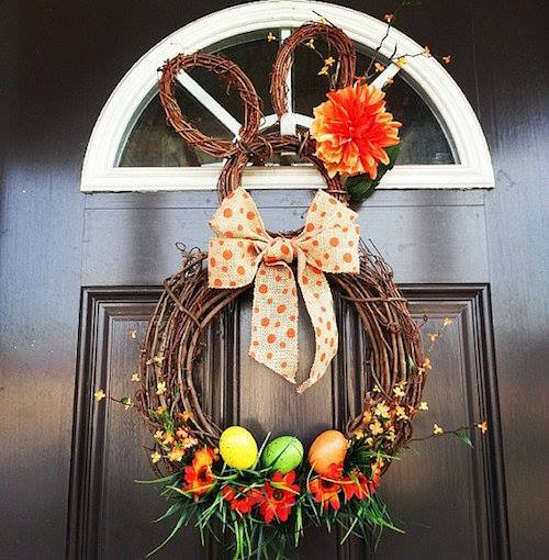 Sassy Bunny Shape Wreath With Eggs For Front Door Decor