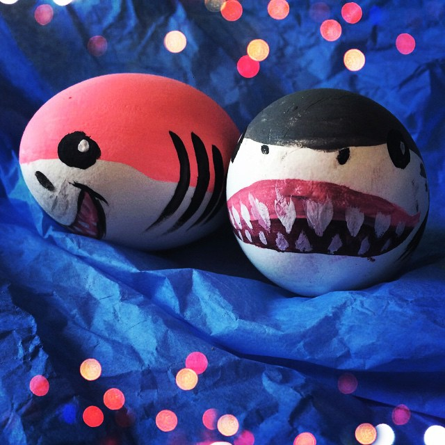 Shark Is Painted On Egg