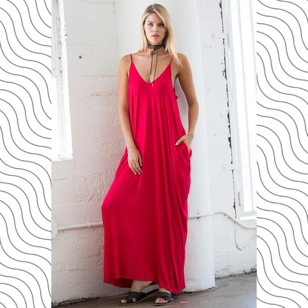 Spaghetti Strap Low Back Harem Maxi Dress With Pockets