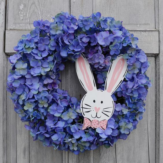 Spring Flowers Wreath With Paper Bunny