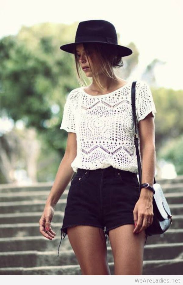 Spring Stylish Look With Cutoff Shorts, Knit Top And Hat