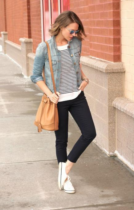 Striped Shirt, Denim Jacket And Black Tights With White Sneakers And Sunglasses