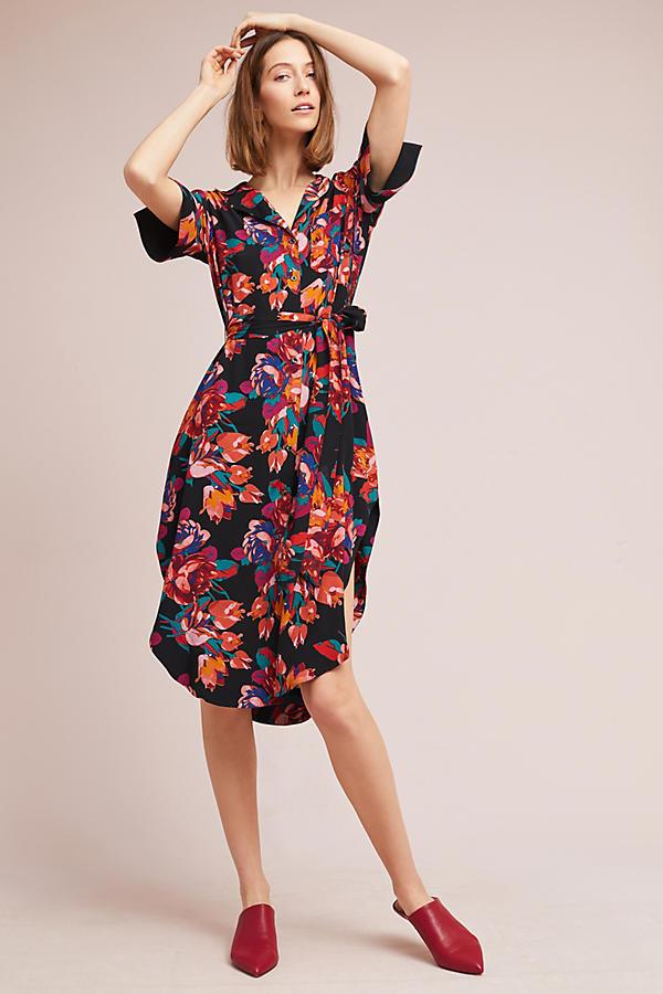 Stylish Floral Black Wrap Dress For Spring